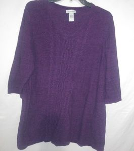 Catherines Purple Knit Tunic Top 18/20 1X Plus